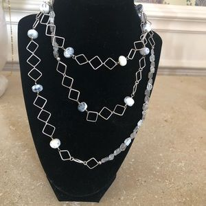 Onyx necklace and sterling silver chain